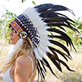 Novum Crafts Feather Headdress | Native American Indian Inspired | Black