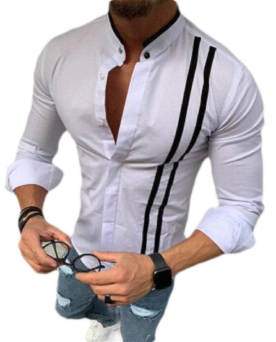 Rrive Men Casual Shirts Button Up Formal Loose Color Block Long Sleeve Shirt Top