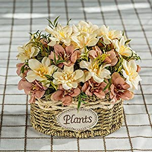 Jhyflower Mature leisure bedroom artificial flower decoration flower decoration wedding coffee table plastic dried flower artificial flower silk flower living room basin, brown delphinium grass straw 13