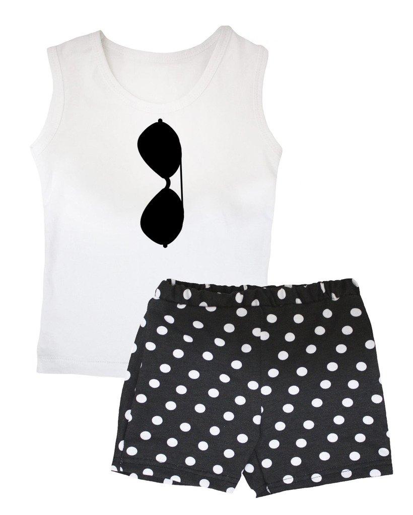 Petitebella Sunglasses White Vest Polka Dots Black Short Set 1-8y (6-8 Years)