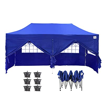 HYD-Parts Outdoor Instant Folding Shade Tent 10x20 FT for Party with Sidewalls, Wheeled Carrying Bag and Sandbags : Garden & Outdoor