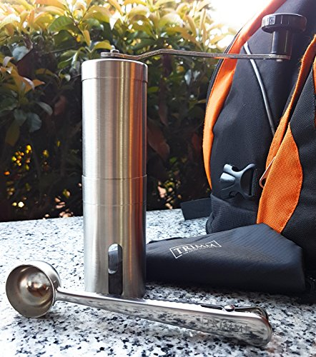 Manual Coffee Grinder for Iced Cold Brew Espresso French Press Stainless Steel | Ceramic Conical Burr Design and Grind Selector | Includes Spoon and Cleaning Brush | Gift (Team Logo Medium Gift Bag)