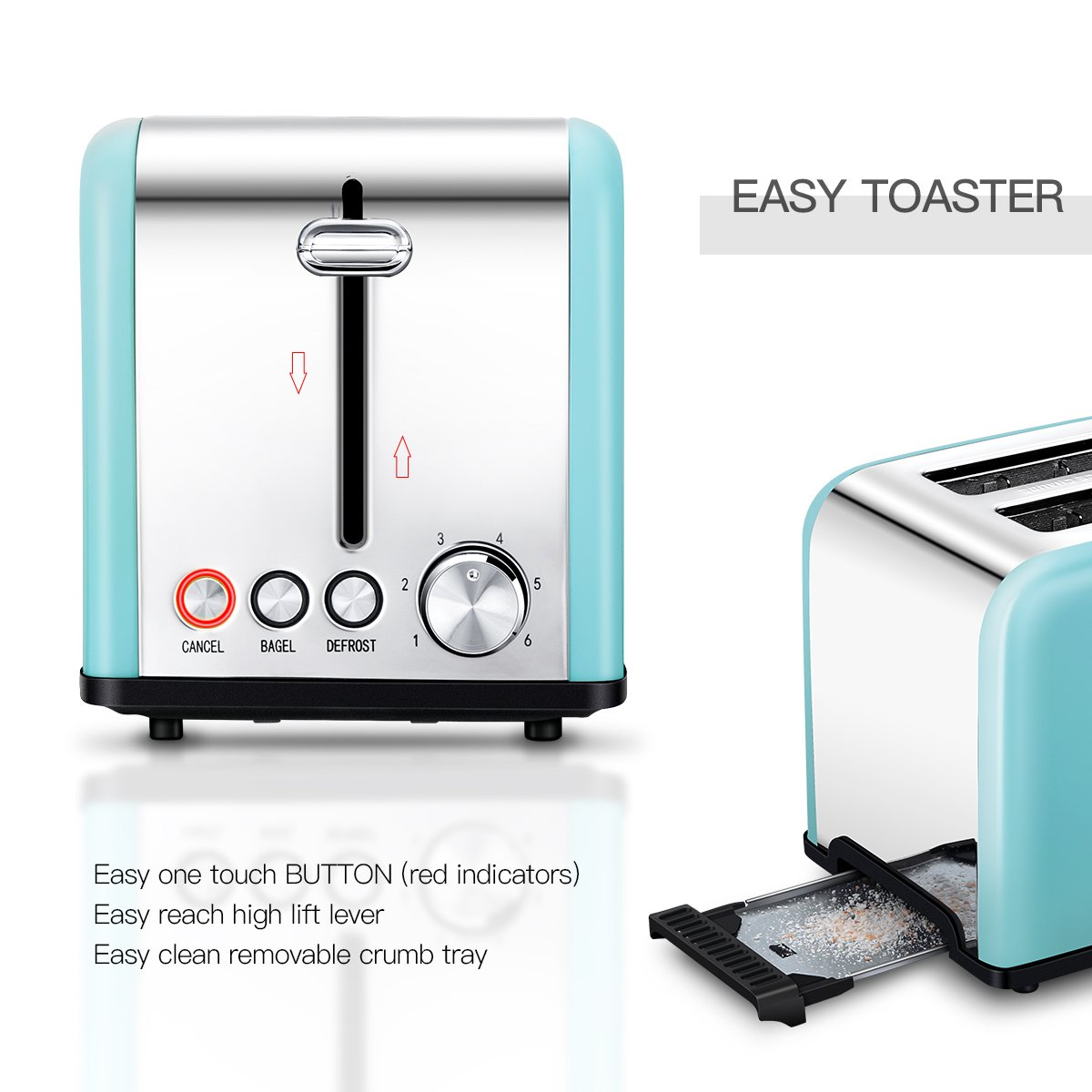 Toaster 2 Slice, Retro Small Toaster with Bagel, Cancel, Defrost Function, Extra Wide Slot Compact Stainless Steel Toasters for Bread Waffles, Blue by Keemo (Image #3)