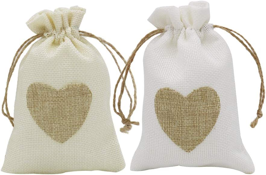 5//10Pcs Natural Jute Hessian Drawstring Pouch Burlap Wedding Favor Gift Bags