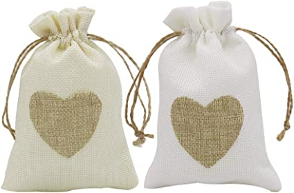 12pcs Trendy Linen Pouches Heart Drawstring Wedding Favors Gift Bags Jewelry