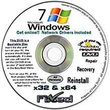 Recovery disc compatible w/ All Versions of Windows 7 Recovery Disc for 32 & 64 Bit Systems. Factory Fresh Re-install w/Network drivers. Free Fast Tech Support!!