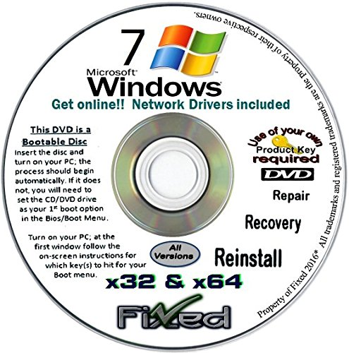 Recovery disc compatible w/ All Versions of Windows 7 Recovery Disc for 32 & 64 Bit Systems. Factory Fresh Re-install w/Network drivers. Free Fast Tech Support!! by Fixed