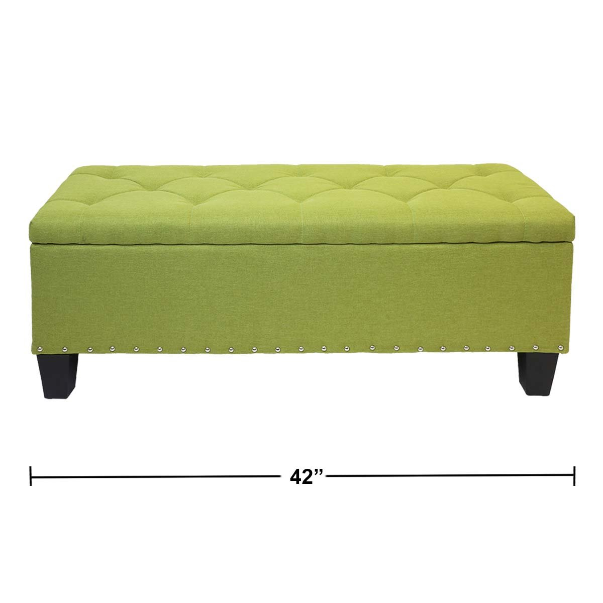 Magshion Rectangular Storage Ottoman Bench Tufted Footrest Lift Top Pouffe Ottoman, Coffee Table, Seat, Foot Rest, and more (42'', Linen Olive) by Magshion (Image #2)