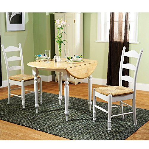 Simple Living White Wood and Rush 3-piece Ladderback Dini...
