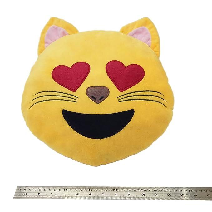 Desire Deluxe Cojín Emoticono Cara Gato con Ojo de Corazon Sonriente - Almohada o Peluche Emoji Cariñoso en Forma de Emoticon Cara Gato con Ojo de ...