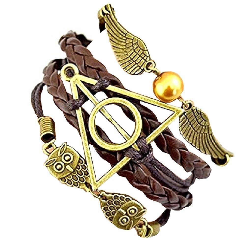 Inception Pro Infinite Bracciale Dell'Amicizia Marrone Harry & Potter Simbolo Triangolo E Cerchio Civetta E Ali 71851715527391