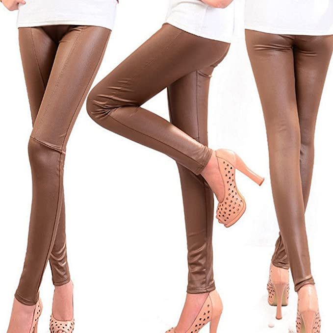 44f526e197be45 BOZEVON Women Sexy Faux Leather Leggings Skinny Stretchy Fitted Trousers  Ladies Pants: Amazon.co.uk: Clothing