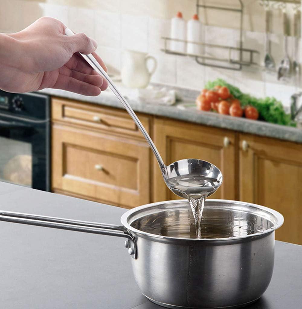 VinBee Lot de 4 louches /à soupe en acier inoxydable avec poign/ée en m/étal