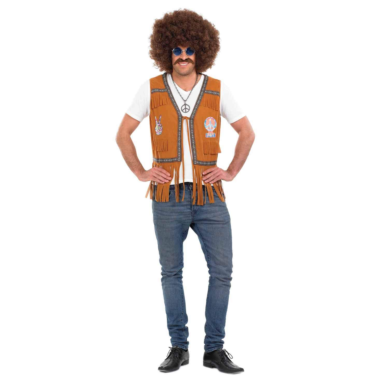 Adult Mens Long 60s Flower Power Hippy Fringe Suede Vest Fancy Dress Accessory