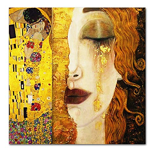 Karen Max Classic Gustav Klimt Golden Tears and Kiss Paintings Canvas Wall Art Printed Pictures Famous Artwork Decorative Painting- No Frame Canvas Prints ()