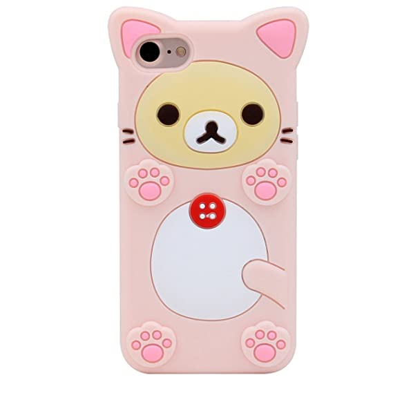 newest 8c19c 5ccc1 iphone 7 Plus Case,iphone 7 Plus Cartoon Gel Case,MODEFAN Cute 3D Cartoon  Rilakkuma Pink Style Rubber Silicone Soft Gel Skin Case Cover for Apple ...