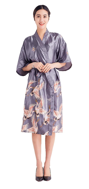 OLIPHEE Lange Kimonos f/ür Damen Bademantel aus Satin mit Pfau und Bl/üten Morgenmantel Robe
