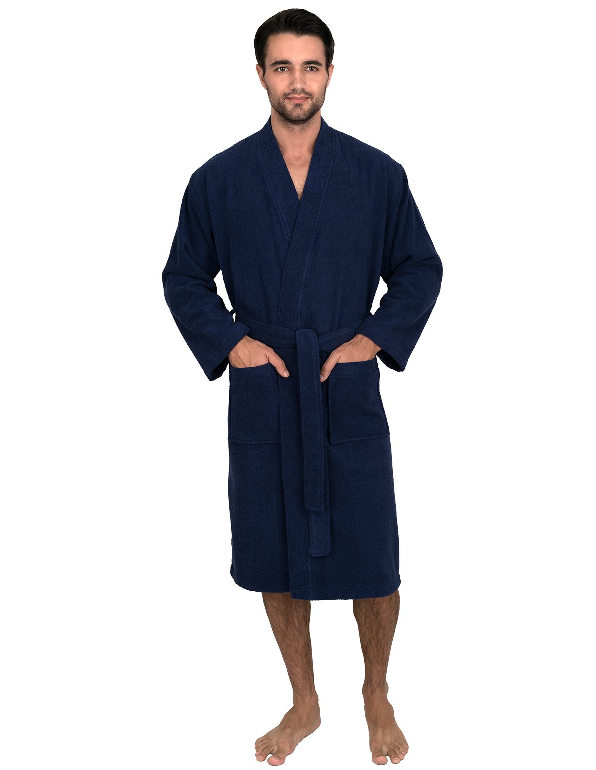 TowelSelections Men's Robe, Turkish Cotton Terry Kimono Bathrobe X-Large/XX-Large Patriot Blue
