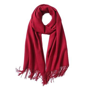 b03407f5107e Hidouyal Grande Echarpe Foulard Châle Femme Uni avec Franges Rouge 200x70cm