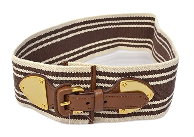 24e00935d1 LAUREN RALPH LAUREN Women's White Brown Striped Stretch Belt MED ...