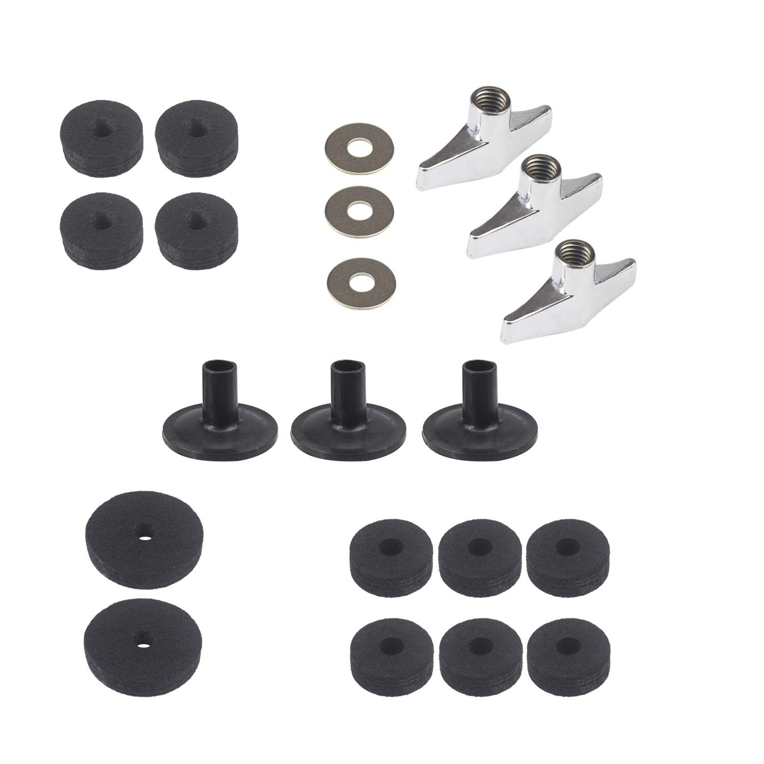 WeiMeet Cymbal Accessories Cymbal Stand Sleeves Cymbal Felts Drum Set Accessories with Cymbal Washer and Base Wing Nuts(21 Pieces)