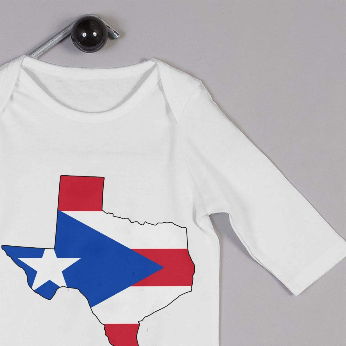 Infant Babys Cotton Long Sleeve Puerto Rico Flag of Texas Map Romper Bodysuit Funny Printed Romper Clothes