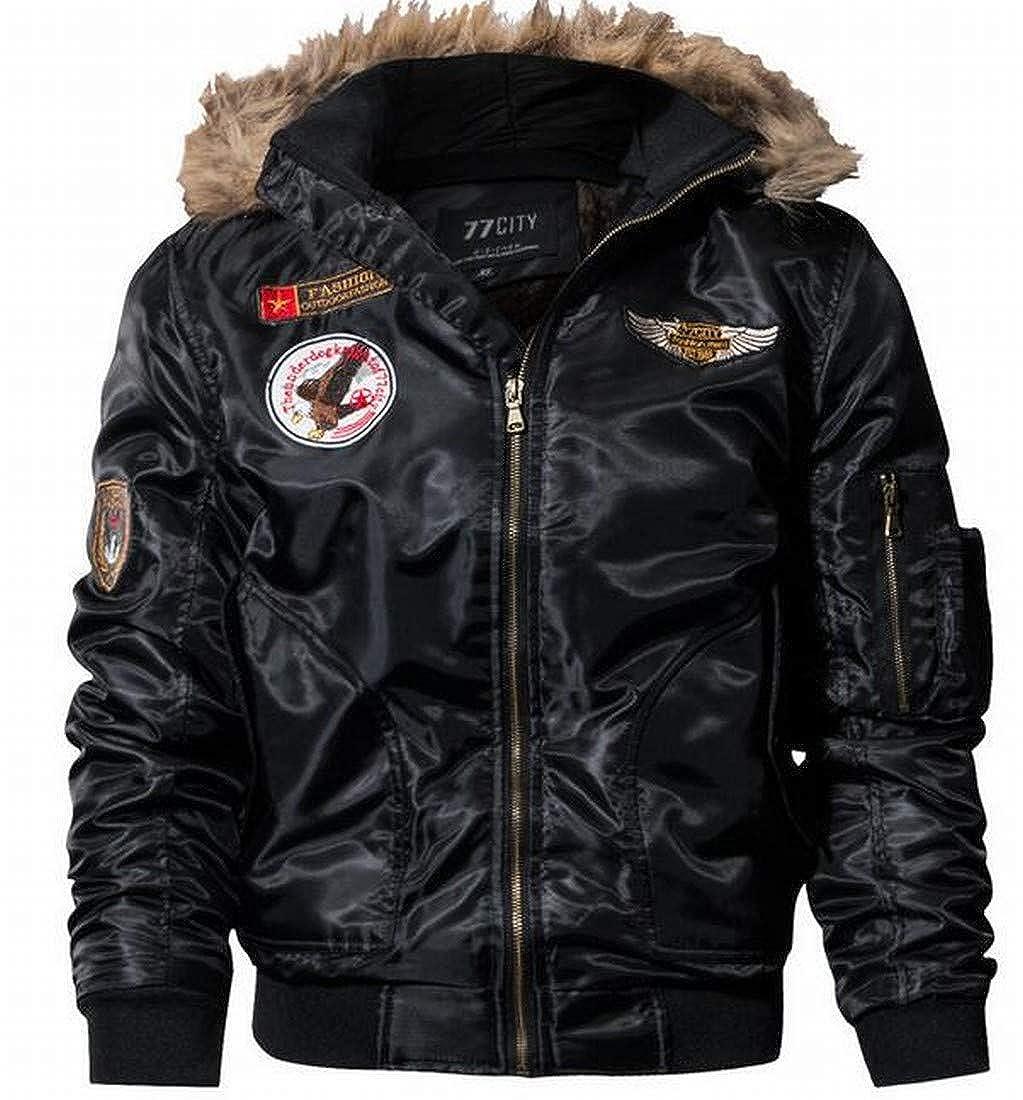 ARTFFEL Mens Plus Size Fleece Lined Faux Fur Hoodie Thicken MA-1 Flight Bomber Jacket