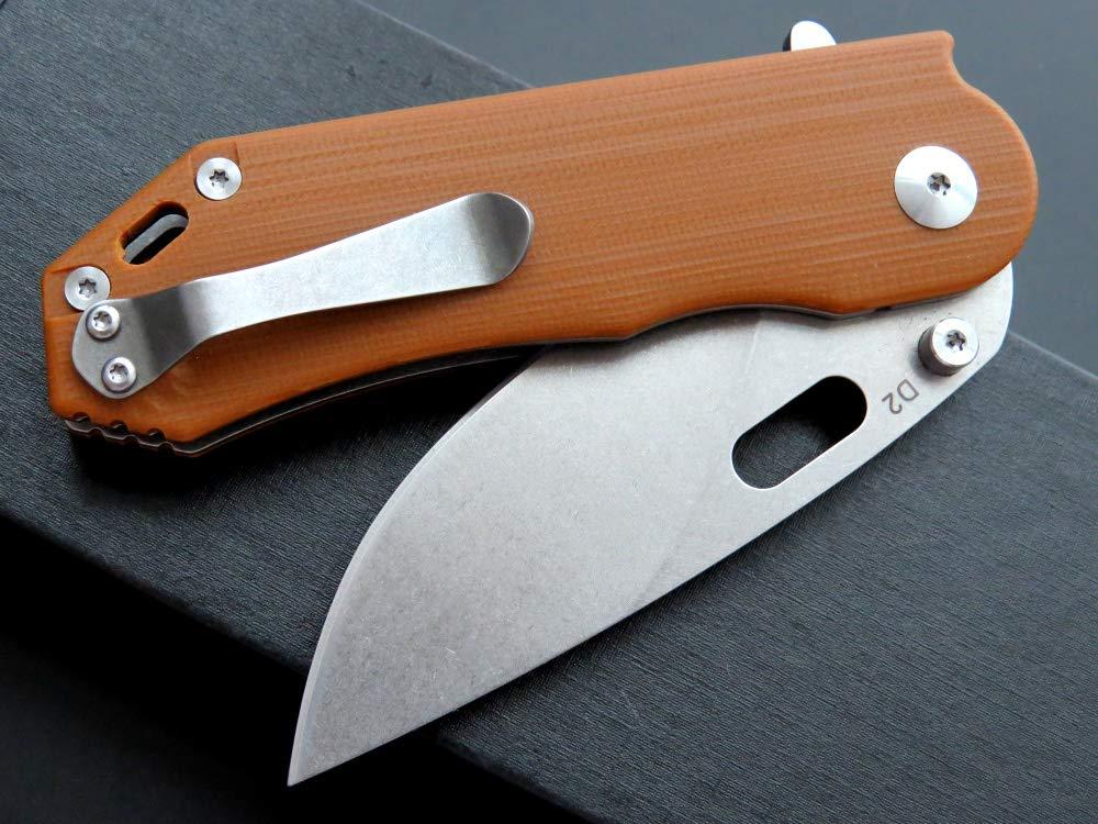 Eafengrow Pocket Knives D2 Blade G10 Handle Folding Camping Knife Mini Outdoor Pocket Knife Survival Tool (EF32-brown) by Eafengrow (Image #5)