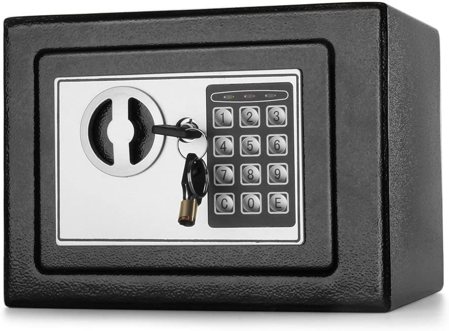 """Flexzion Digital Safe Box 9"""" Electronic Keypad Lock Security Gun Cash Jewelry Passport Valuable Wall Cabinet for Home Office Hotel with 2 Keys Fit Anywhere"""