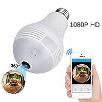 Ampoule Caméra Surveillance WiFi sans Fil 360 ° Caméra IP 1080P Caméra de Sécurité E27