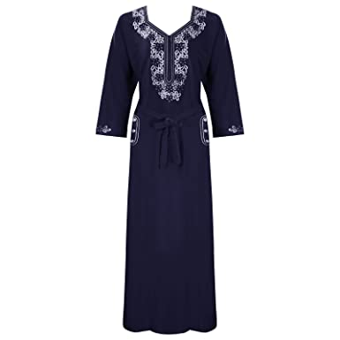 7beb70e72f The Orange Tags Womens Winter Warm 3 4 Sleeve Nighties Ladies Nightwear  Embroidery Nightie-Navy-One Size  Regular (8-16)  Amazon.co.uk  Clothing