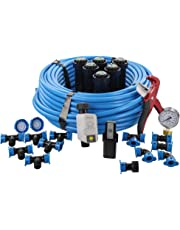 Orbit 50022 In-Ground Blu-Lock Tubing System and B-Hyve Smart Hose Faucet Timer with Wi-Fi Hub Sprinkler Kit, Blue, Black