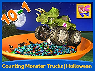 Counting Monster Trucks - Halloween - Learn to Count Backwards from 10-1 for Kids