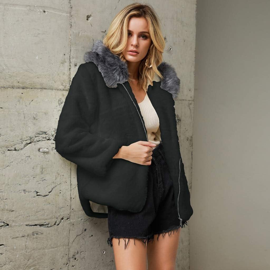NQSB Women Thick Warm Faux Fur Lambswool Jacket Outerwear Winter Zipper Coat Loose HoodedCasual Outerwear Hairy Overcoat Black