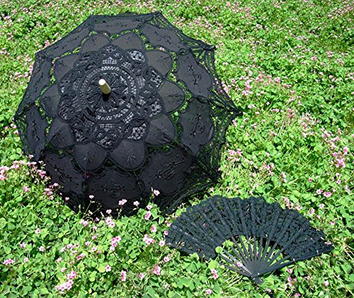 "30"" Handmade Lace Parasol Umbrella & Hand Fan for Wedding Bridal Decoration Victoria Style Photograph (Black)"