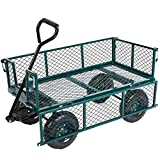 KARMAS PRODUCT Large Garden Utility Wagon Cart Steel Heavy Duty Outdoor Folding Dump Carts,Load Capacity(600 Lb),Green