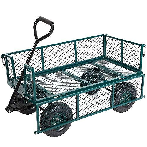 Karmas Product Large Utility Wagon Cart Heavy Duty Outdoor Folding Garden Carts,Load Capacity(600 Lb),Green