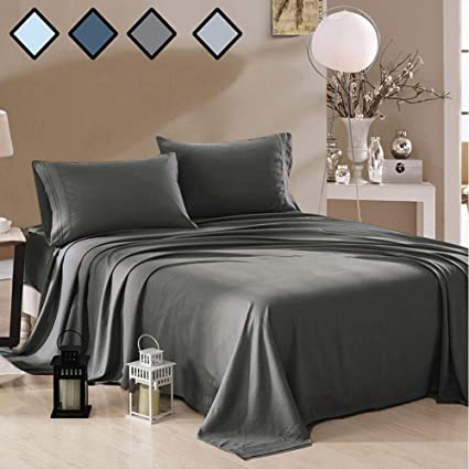 Awesome Queen Size Sheets Deep Gray   Extremely Soft Bedding Sets Deep Pockets    100% Brushed