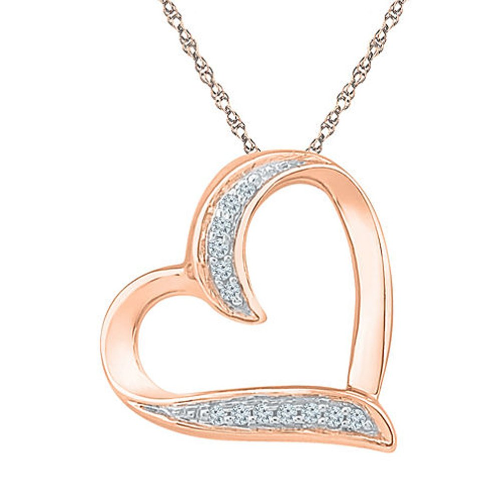 TrioStar Ravishing 0.20 Ct Round Cut CZ Diamond 14k Rose Gold Plated Heart Pendant Necklace with 18 Chain