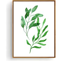 Hepix Framed Canvas Wall Art Tropical Leaves Watercolor Painting for Home Decor 13 x 17 inch