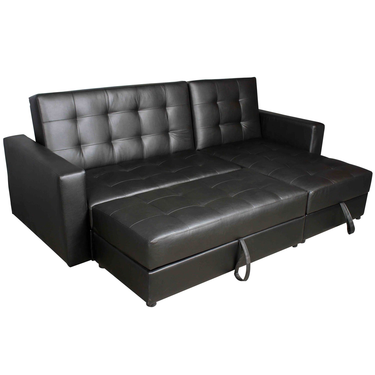Hom Deluxe Faux Leather Corner Sofa Bed Storage Sofabed Couch