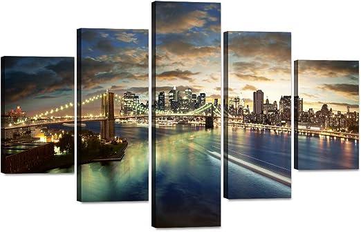 Panoramic Brooklyn Bridge New York Skyline Photo Multi-Panel HD Canvas Wall Art