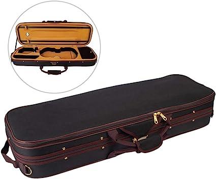 Fesjoy Estuche profesional de 1/2 tamaño completo para violín Bolsa de transporte Estuche rígido de forma oblonga con forro de felpa Higrómetro y correas portátiles Shoudler Negro: Amazon.es: Instrumentos musicales