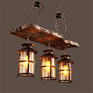 Industrial Rustic Woody Wrought Iron 3 Lights Pendant Light, NIUYAO Farmhouse Chandelier Celling Lights Fixture Metal Cage Frame with Glass Shade for Indoor Bar Warehouse 511215