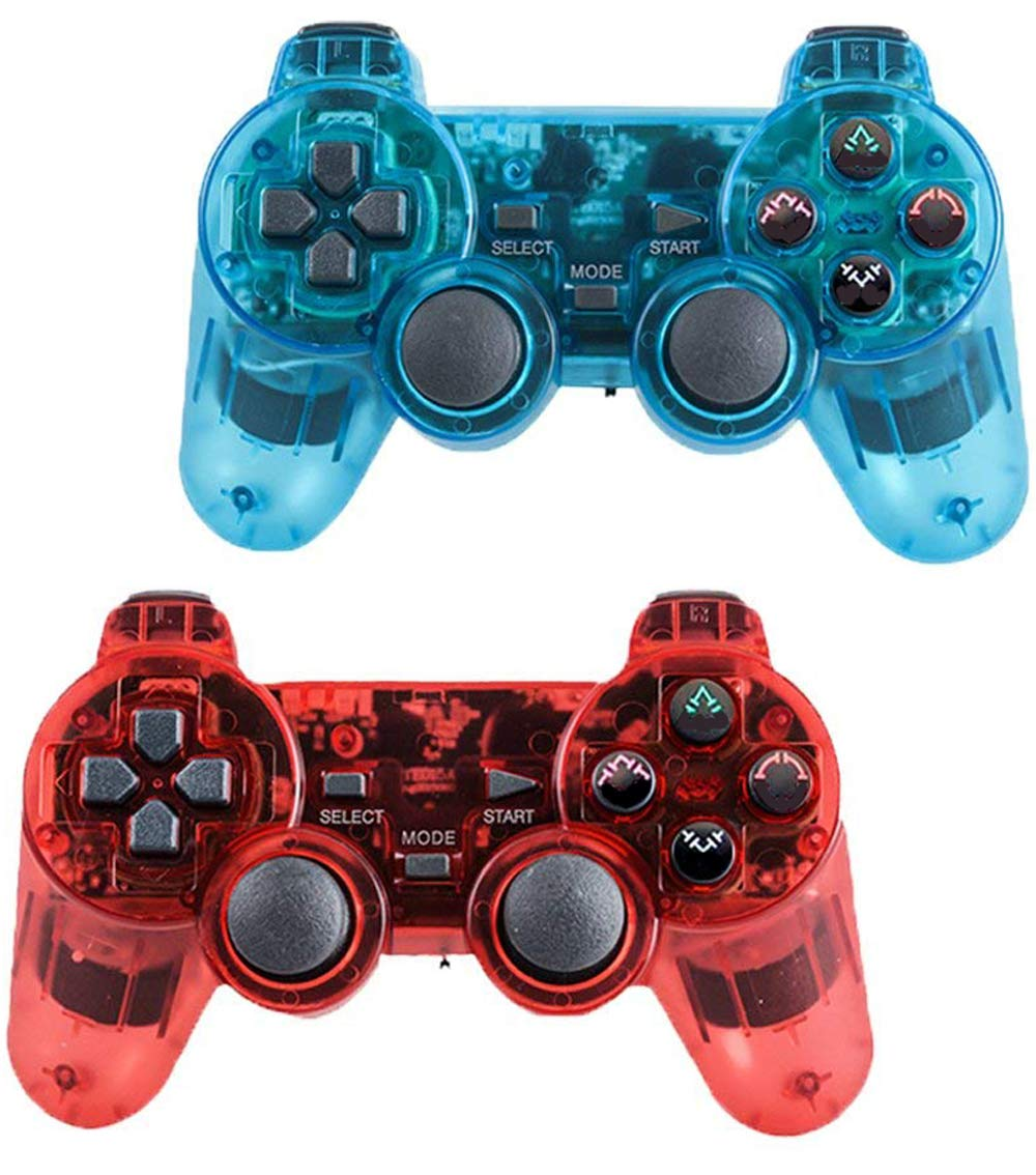 Saloke Wireless Gaming Controller for Ps2 Double Shock (ClearBlue1 and ClearRed)