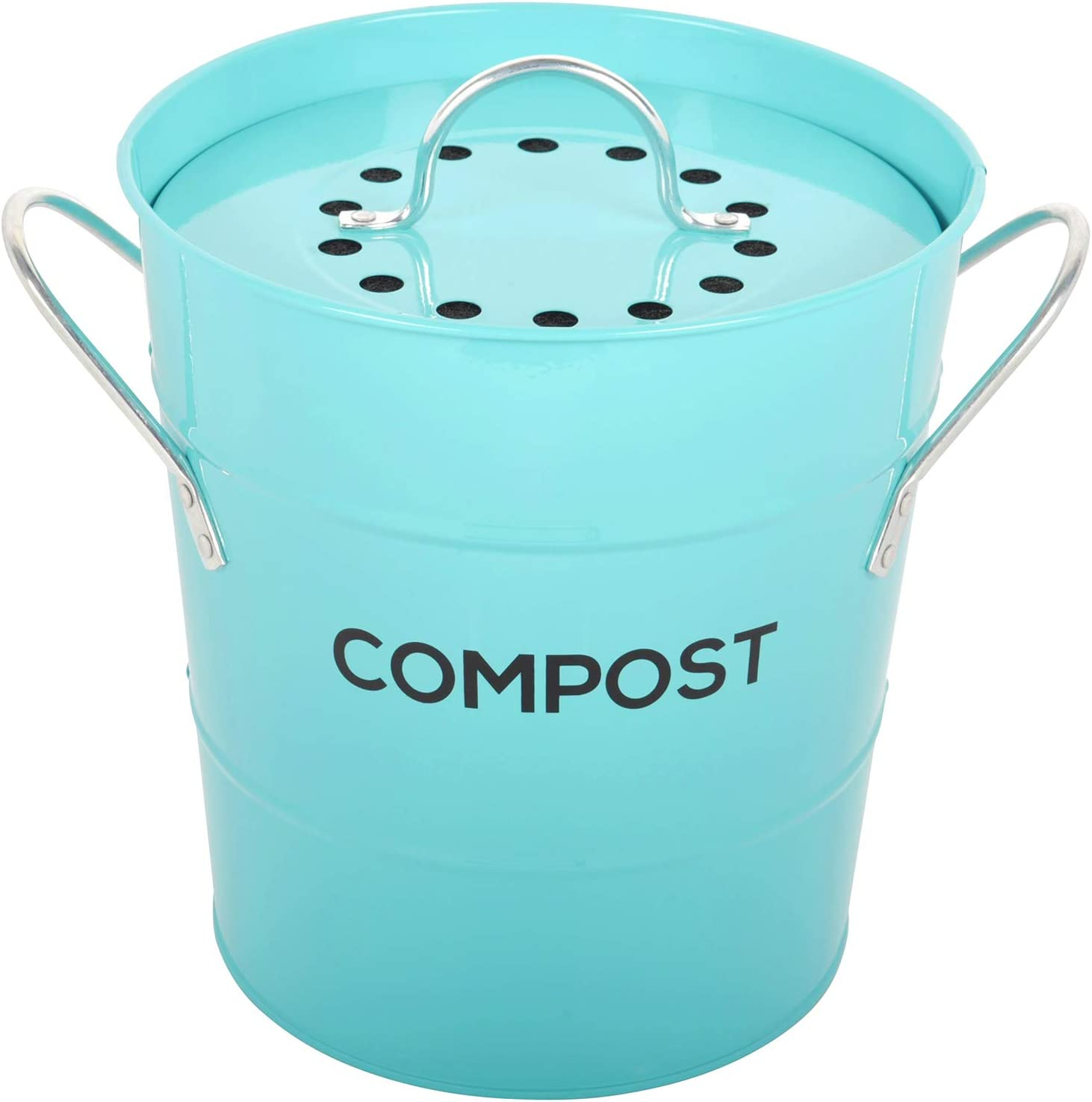 INDOOR KITCHEN COMPOST BIN by Spigo, Great for Food Scraps, Includes Charcoal Filter For Odor Absorbing, Removable Clean Plastic Bucket, Handles, Durable Stainless Retro Design, 1 Gallon, Turquoise