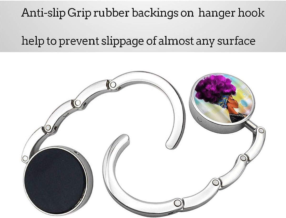 African Woman With Purple Hair Purse Hook Foldable Handbag Hanger Handbag Holder For Tables /& Desks 1pcs