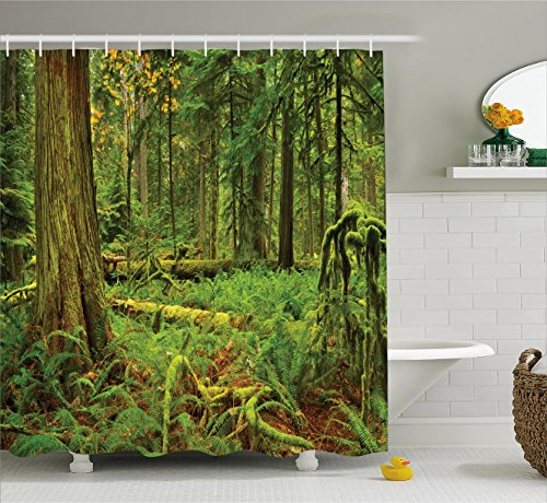 Farm House Decor Shower Curtain by Ambesonne, Idyllic Lus...