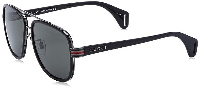 Gucci GG0448S-001 Gafas de Sol, Negro, 58 para Hombre ...