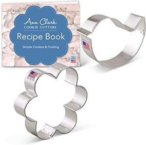 Ann Clark Cookie Cutters 2-Piece Garden Cookie Cutter Set with Recipe Booklet, Teardrop Bird and Flower